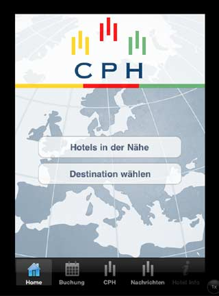 CPH Hotels Iphone App iPad, Startseite