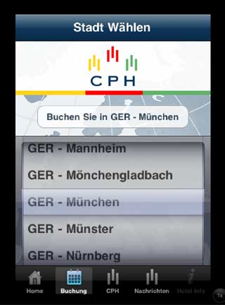 CPH Hotels iPhone App iPad, Hotelsuche nach Destination