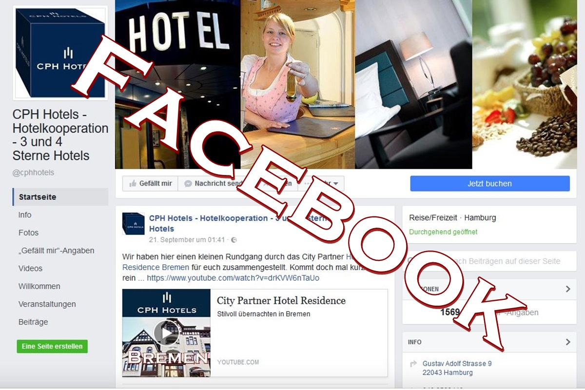 Social Media Hotels Facebook, CPH Hotels