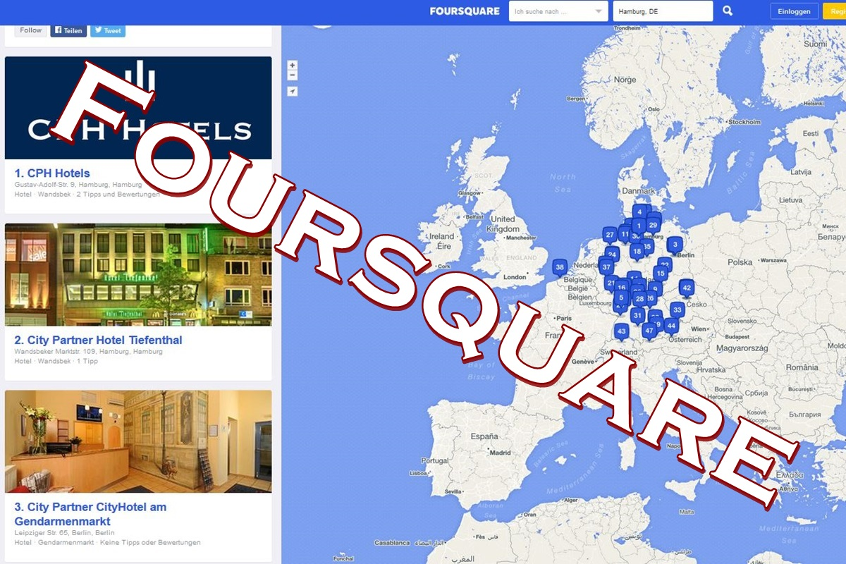 Social Media Hotels Foursquare, CPH Hotels